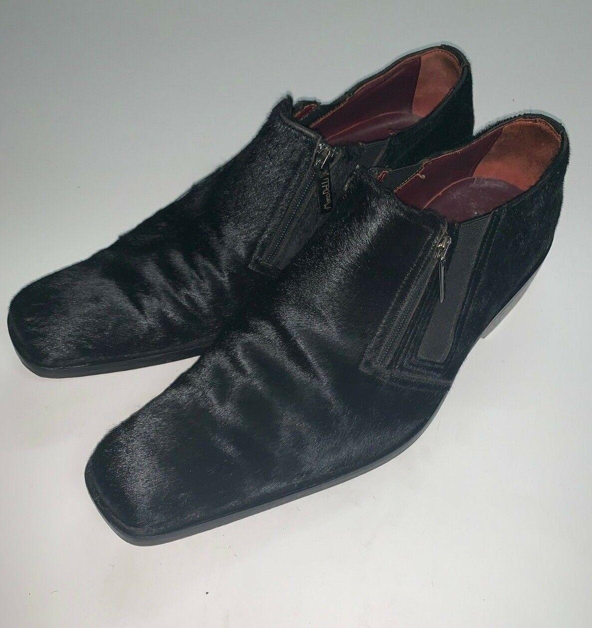Marco Delli de vestir Zapatos para hombre Talla 9.5 Pony Cabello Negro Cuero Mocasines De Cremallera
