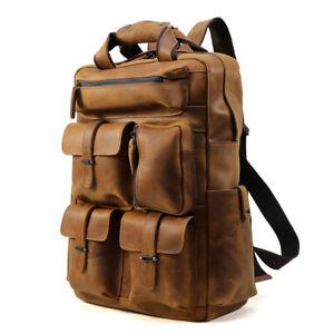 Vintage-Men-039-s-Real-Leather-17-039-039-Laptop-Backpack-Shoulder-Bag-Travel-Camping-Tote