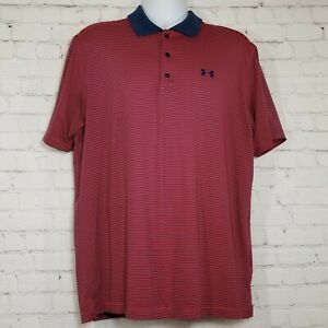 Under Armour Mens Heat Gear Loose Fit Polo Golf Shirt XL Red Blue Short Sleeve