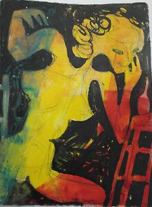 Jean-Schuler-Femme-nue-Technique-mixte-sur-papier-carton-PV35