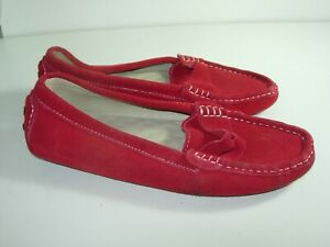 WOMENS-RED-SUEDE-SUNROLAN-DRIVING-MOCCASINS-LOAFERS-COMFORT-SHOES-SIZE-7-5-M
