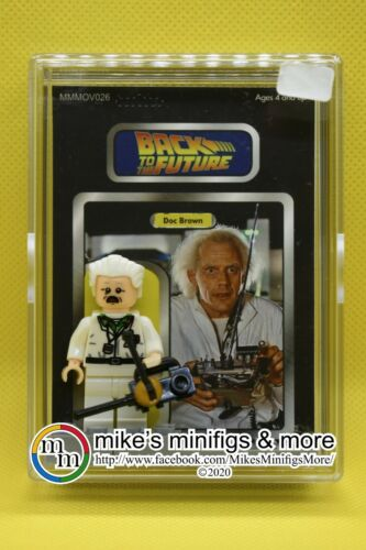 Back to the Future DOC BROWN Custom Carded Minifigure Display Mini-Figure
