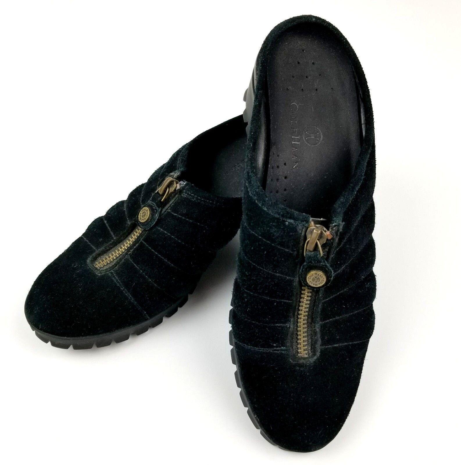Cole Haan Womens Waterproof Mule shoes Sz 8.5B Black Suede Slip On Zip Up Euc