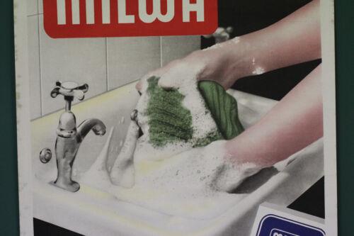 org altes Werbe  Plakat  Milwa Waschmittel wäscht alles  Persil Werk Genthin