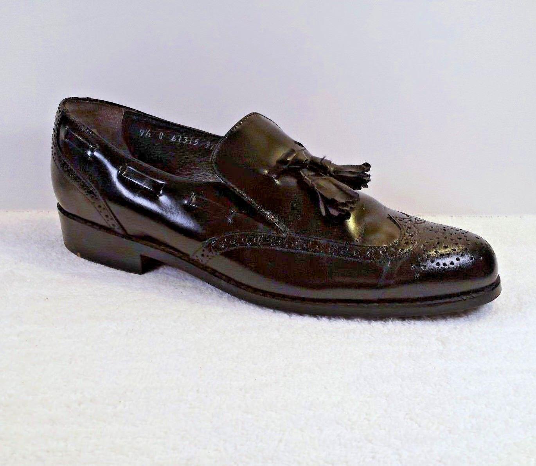 Stuart McGuire Mens 9.5 D Black Perforated Wingtip Tassel Dress Loafer Class