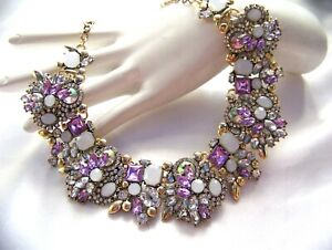 Stunning Retro Vintage Style Multi Color Crystal  Rhinestone & Glass Necklace