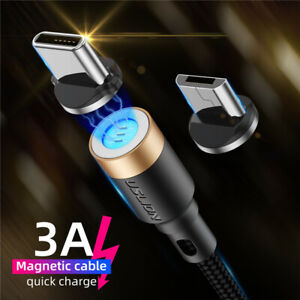 3A-Magnetic-Micro-USB-Type-C-Fast-Data-Sync-Charging-Charger-Phone-Cable-1M-2M