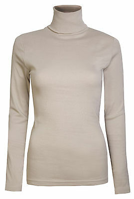 Womens Roll Necks Tops Smart Casual Plain Stretch Jersey Cotton Beige Size 10