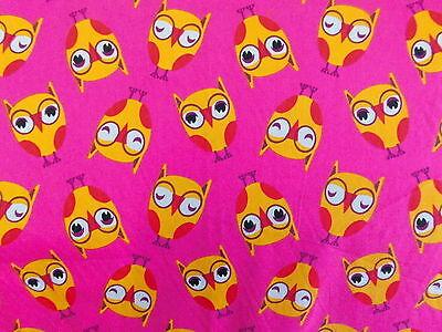 Loopauswahl Baumwollstoffe Kinderstoff Eulen pink orange rosa  Zuschnitt
