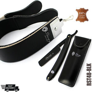 BLACK-STRAIGHT-CUT-THROAT-SHAVING-RAZOR-SET-STROP-BELT-STRAP-GIFT-SET-FOR-HIM