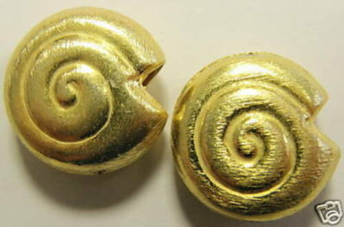 2 Cuivre Escargots longitudinal percés plaqué or 10 mm 4803