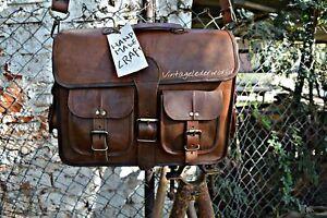 Large-Real-Goat-Leather-Vintage-Brown-Messenger-Shoulder-Laptop-Bag-Brief-case