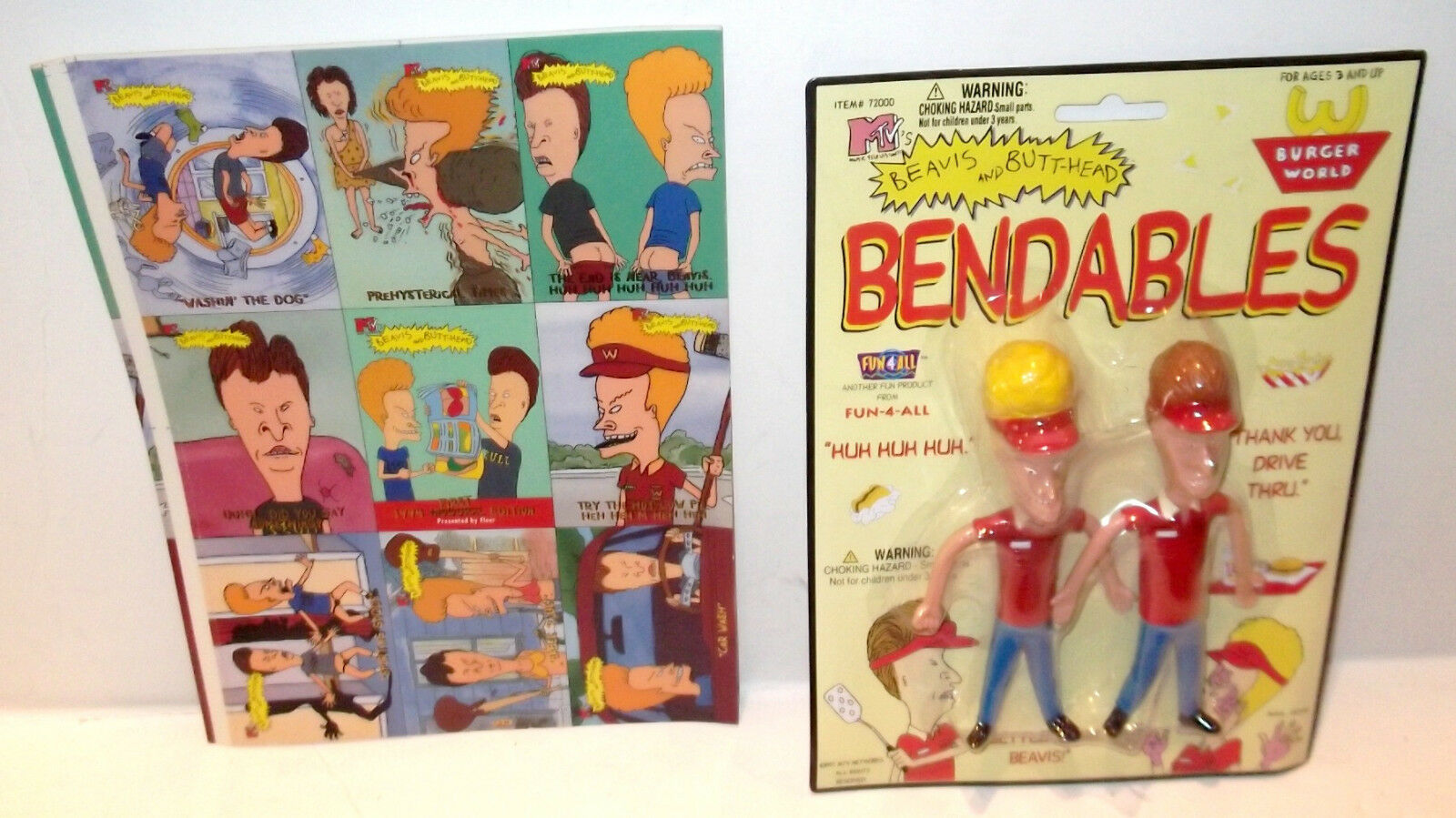 RARE ✰ 1997 Beavis Butt-head Fun4All Bendables Toy Burger World SEALED + PROMO