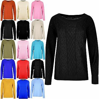 Womens Ladies Cable Knitted Long Sleeves Round Neck Oversized Baggy Jumper Top