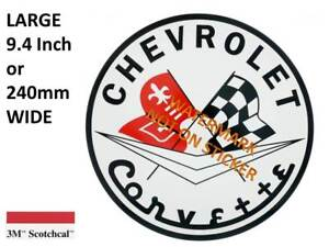 VINTAGE CHEVROLET CORVETTE GASOLINE DECAL STICKER LABEL 9.5 INCH DIA 240 MM