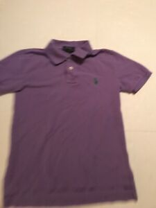 Polo-Ralph-Lauren-Boys-Pique-Polo-Shirt-Purple-Sz-S-8-EUC-Short-Sleeve-Cotton