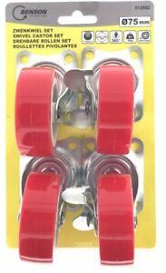 Jeu de Roulettes Pivotantes 4x75mm rouge 2x avec frein