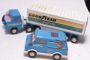 Buddy-L-Goodyear-Racing-Trailer-Truck-Van-Steel-Plastic-STP-Vintage-USED-C24H
