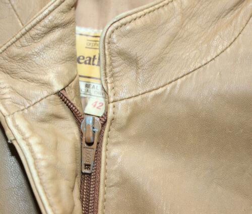 las de cuero chaqueta Vintage Brown mujeres Uk14 Bomber Zivanaris de 100 Arphanos FZU7qz