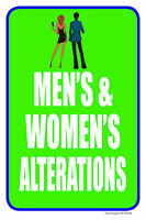 Men's & Women's Alterations 12x18 Store Retail Dry Cleaner Counter Sign