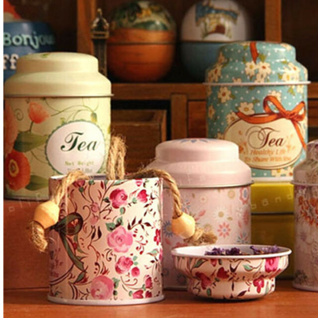Flower Christmas Metal Sugar Coffee Tea Tin Jar Container Candy Sealed Cans Box