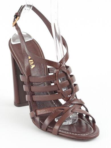 New  Prada  Brown Leather Sandal Size 36 36 36 US 6 1dc202