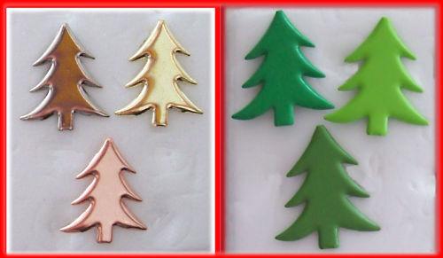 BRADS CHRISTMAS TREE 3 Color 18 Pk BULK 18mm Xmas TREES for Cards Scrapbook  NEW