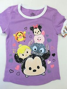Disney-tsum-tsum-Girls-039-Graphic-Print-Tee-Shirts-Purple-Lilac-Size-7-8
