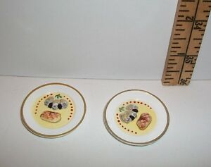 DOLL MINIATURE RE-MENT FOOD FANCY DINNER LOT WITH PLATES ACCESSORY 1/6 SCALE