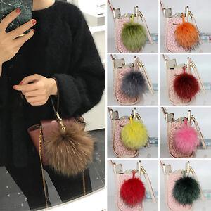 d0f2016f4002e 14 15cm Real Raccoon Fur Pom Keychain 5 Inch Bag Charm Leather Bag ...