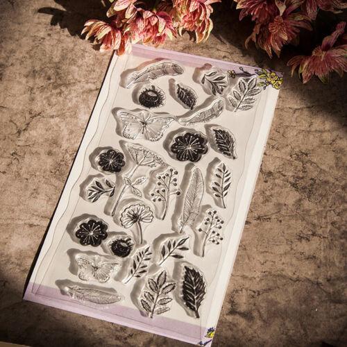 Silicona templo Motivstempel sello Scrapbook flor de mariposa