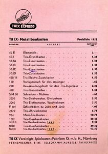 Trix-Preisliste-Metallbaukasten-1952-ORIGINAL-price-list