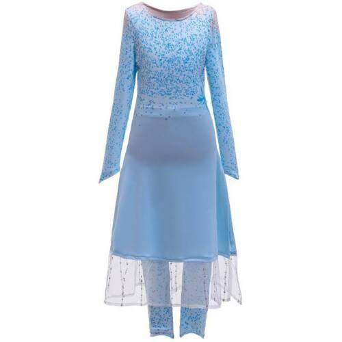 Mädchen Frozen Prinzessin Elsa Cosplay Fancy Kostüm Party Kleid Mantel Hosen