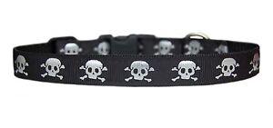 HANDMADE-negro-con-plateado-metalica-calaveras-Collar-Para-Cachorro-CORREA