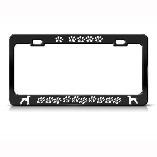 I LOVE MY WEIMARANER DOG PAWS Metal License Plate Frame Tag Holder