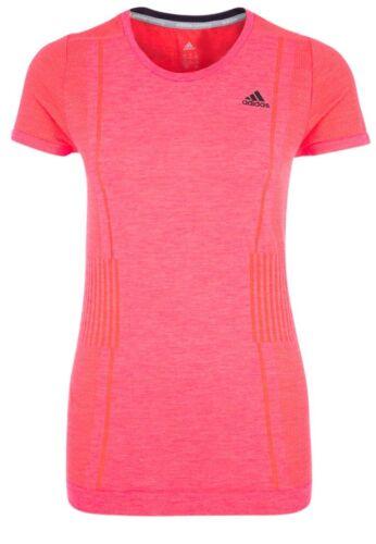 Ladies Womens Gym Fitness New Adidas Primeknit Running Top T-Shirt Pink