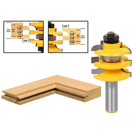 "New 1//2/"" Shank Rail /& Stile Router Bit Ogee Stacked Woodworking Bearing Cutter"