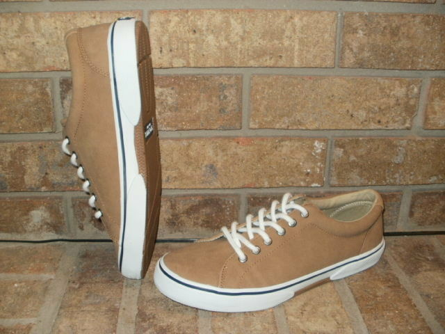 Sperry Top-Sider Striper Mens Tan Leather Lace-Up Sneaker STS14492