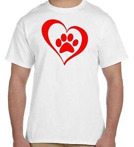 Mens Paw Print Pink Heart Dog Cat Animal Lover Adopt Love Pets Crewneck T-Shirt
