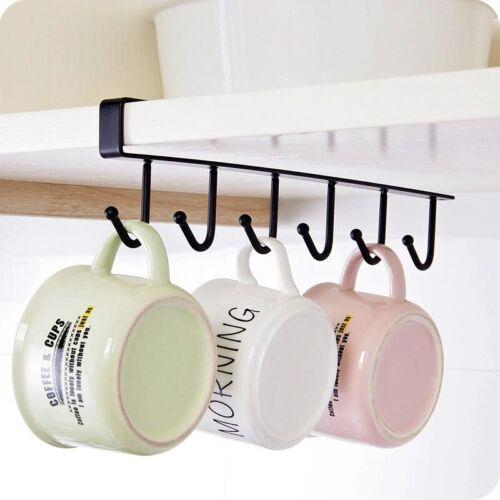 6 Hooks Cup Holder Hang Kitchen Cabinet Under Shelf Storage Rack Organizer Hook