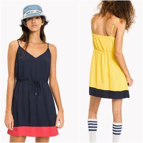 Kleid Tommy Hilfiger Jeans DW0DW04237 Viscose Frau Riemen Gelb-Blau-Kleid