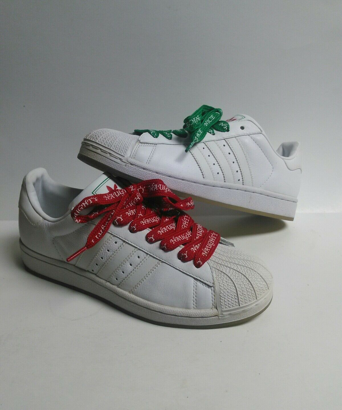 4ed722b88 ADIDAS SUPERSTAR II 2 CHRISTMAS XMAS SZ 8 1 1 1 2 NAUGHTY AND NICE WHITE