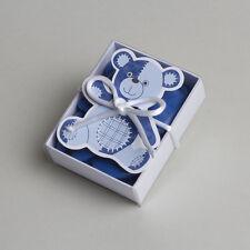 Lot de 10 boites à dragées fourreau ours bleu+ruban baptême mariage communion