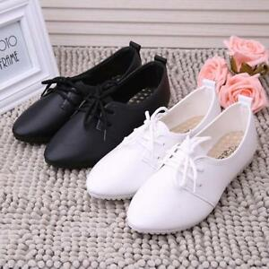 Fashion Womens Leather Casual Flats Loafers Slip On Ballet Oxfords Shoes Size