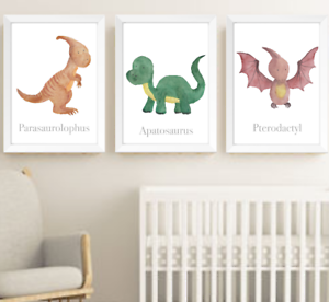 Image Is Loading Dinosaur Nursery Art Prints Set Of 3 Dinosaurs