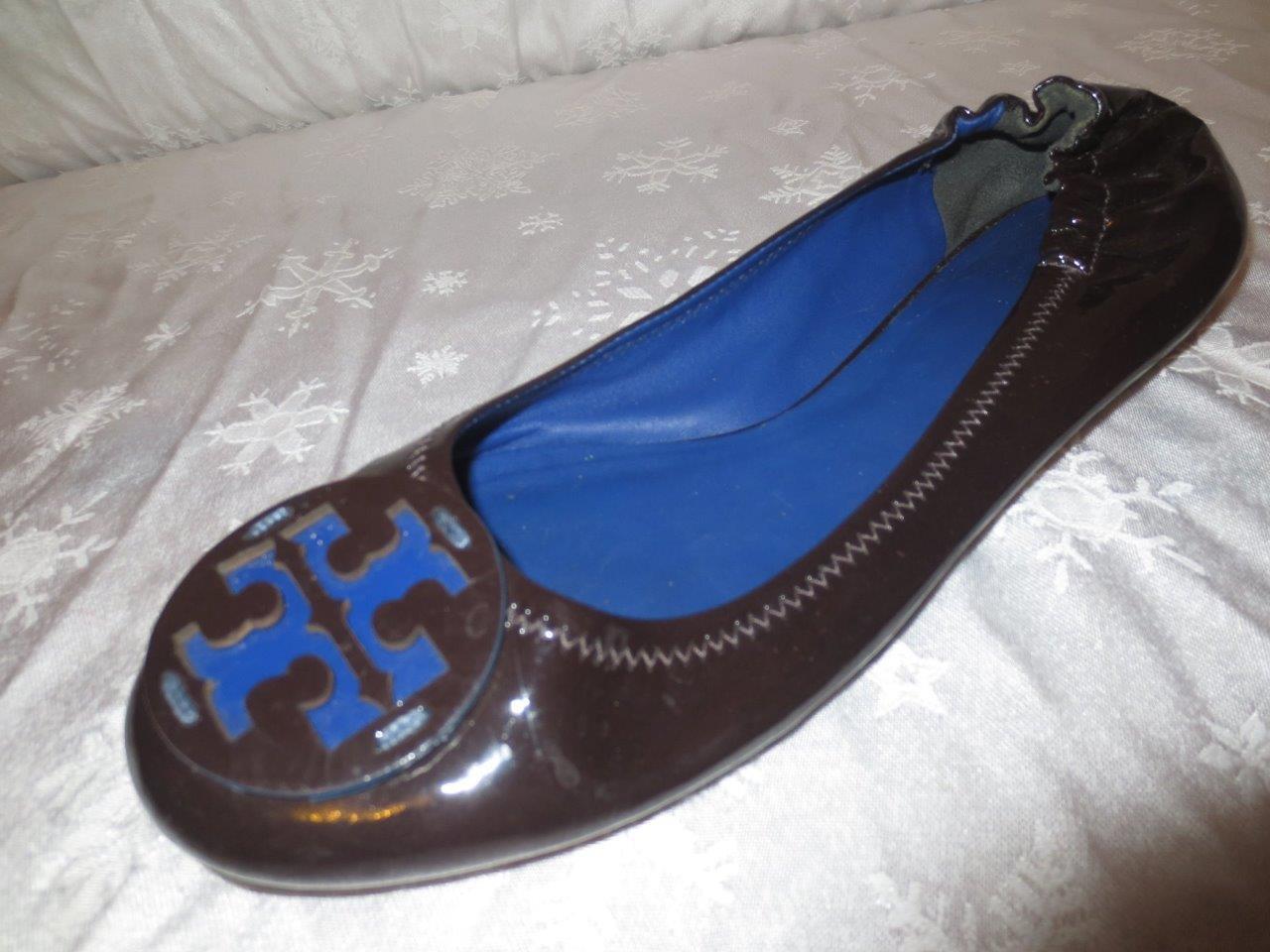 TORY BURCH Damenschuhe COCONUT BROWN & Blau Reva PATENT LEATHER Ballet Flats Schuhe 10