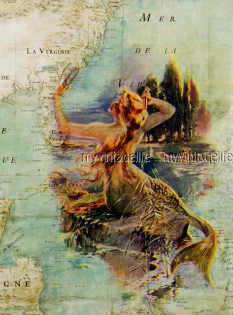 Vintage Map Mermaid and swimmer Quilting Fabric Block