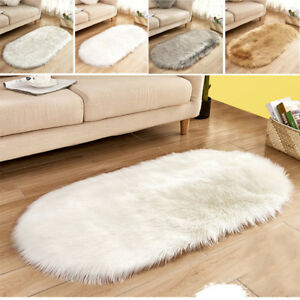 Details about Oval Fluffy Multicolor Shaggy Rugs Soft Furry Thick Non Shed  Living Room Rug