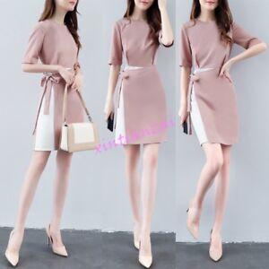 Women Summer Slim Office Korean Chiffon Formal Korean Dresses