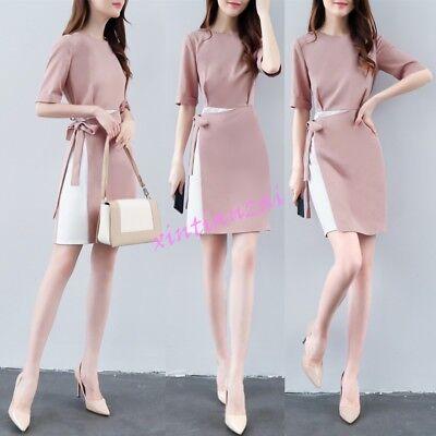 Women Summer Slim Office Korean Chiffon Formal Korean Dresses Belt New Fake 2Pcs   eBay